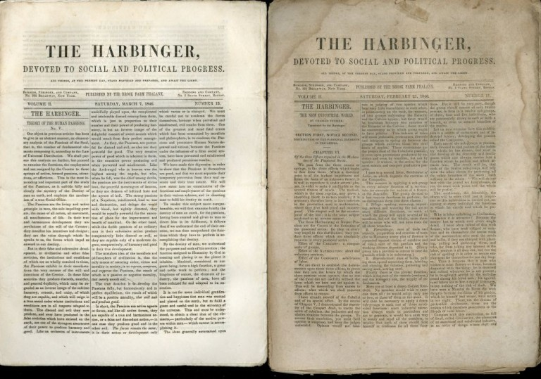 The Harbinger Devoted to Social and Political Progress - Volume II Numbers 11- 17, February 21, 1846 - April 4, 1846. George Ripley, Charles Dana, Brook Farm Phalanx, Charles Fourier.