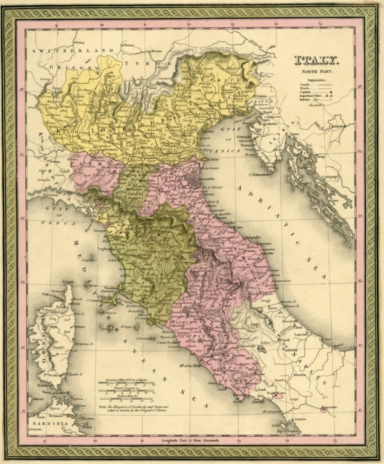 Map of Italy, Cowperthwait ca. 1850. Mitchell.