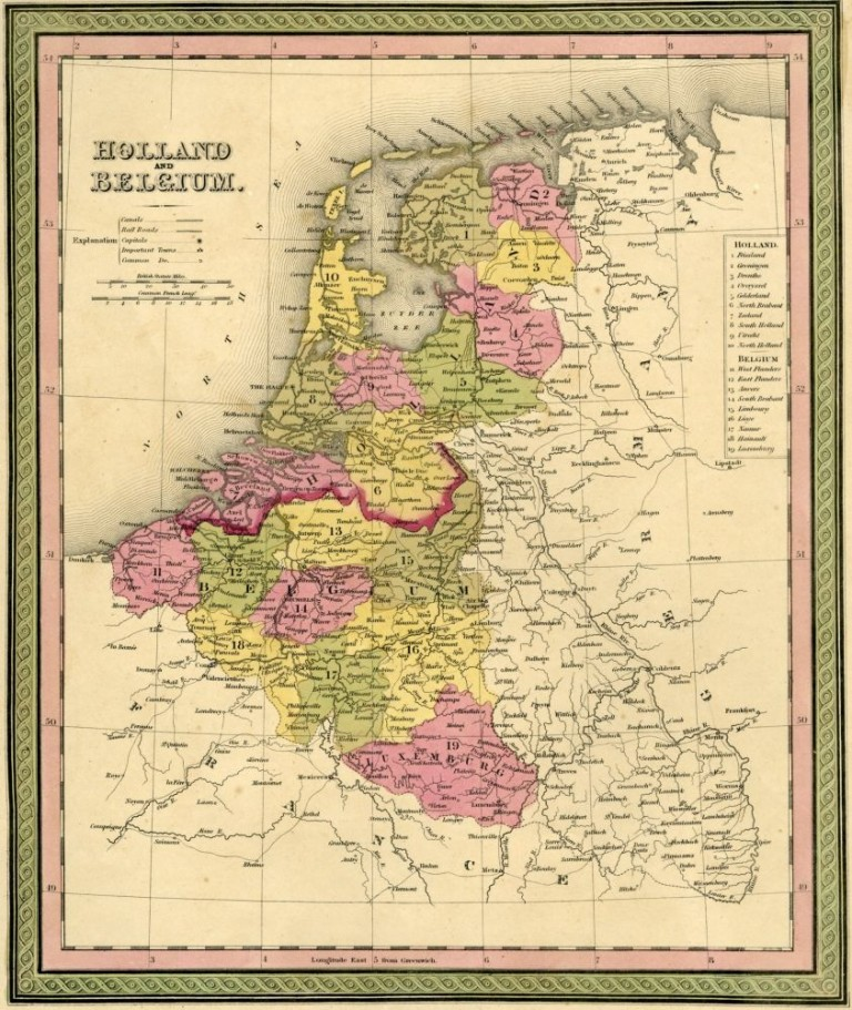 Map of Holland and Belgium, Cowperthwait ca. 1850. Mitchell.