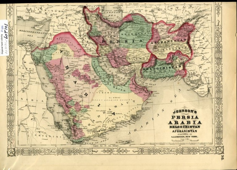 Map of Persia, Arabia, Afghanistan [from johnson's new illustrated family atlas]. Johnson.