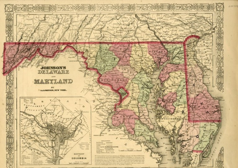 Map of Maryland [from johnson's new illustrated family atlas]. Johnson.