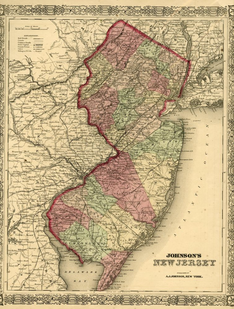 Map of New Jersey [from johnson's new illustrated family atlas]. Johnson.