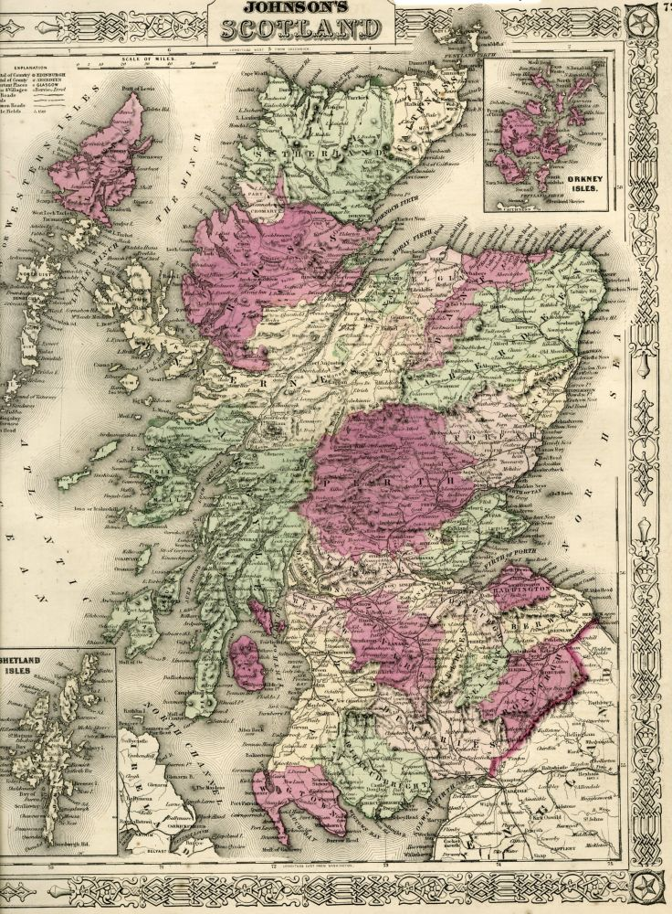 Map of Scotland [from johnson's new illustrated family atlas]. Johnson.