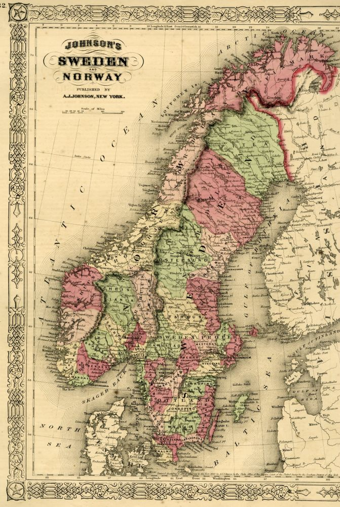 Map of Norway and Sweden [from johnson's new illustrated family atlas]. Johnson.