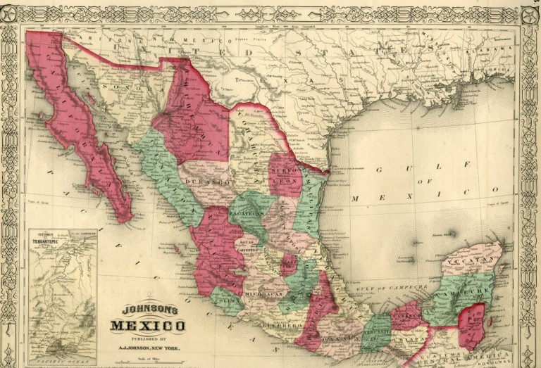 Map of Mexico [from johnson's new illustrated family atlas]. Johnson.