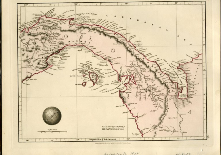 Map of Columbia (Isthmus of Panama) From Arrowsmith's Outline of the World, 1828. Arrowsmith.