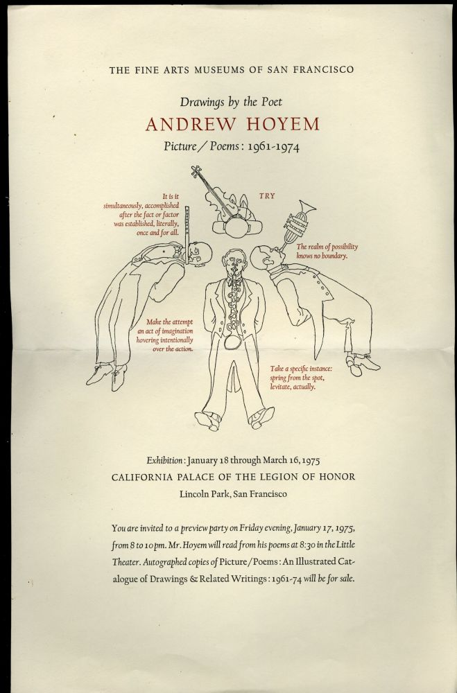 Drawings by the Poet Andrew Hoyem: Exhibition Broadside and Invitation to a Preview Party. Hoyem Andrew.