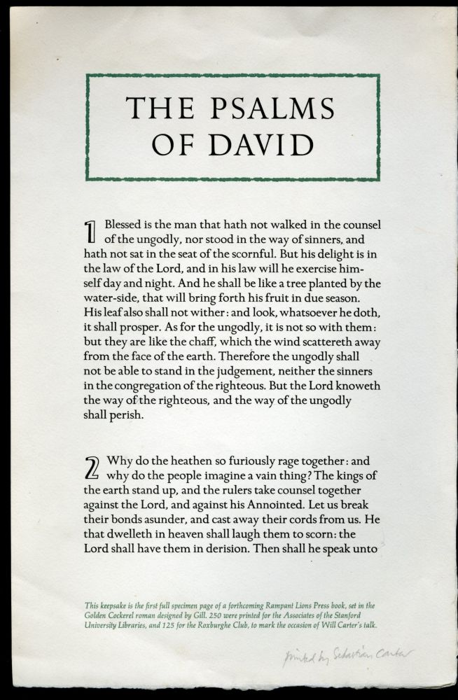 Psalms of David - Keepsake presentation at a Roxburghe Club Meeting. anon.