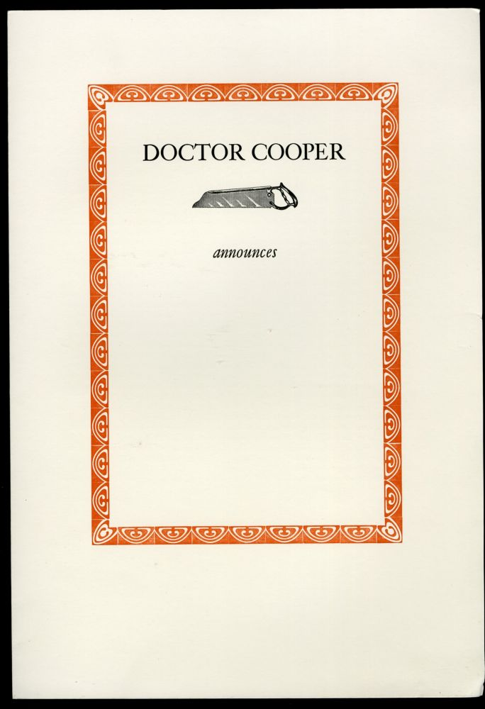 Doctor Cooper Announces Anatomical & Surgical Lectures - Keepsake presentation at a Roxburghe & Zamorano Club Meeting. anon.
