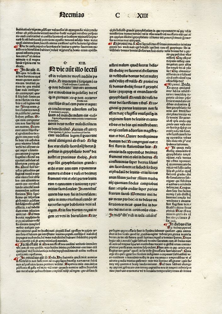 Folio Incunabula Bible Leaf (Biblia latina with gloss). anon.