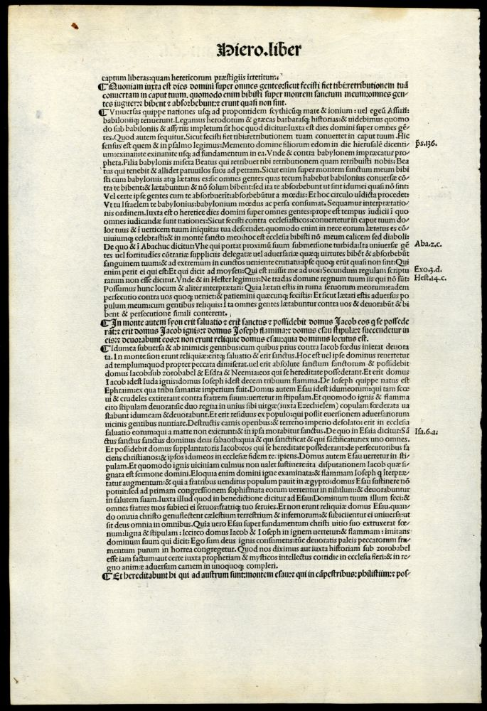 Commentaria in Bibliam [single incunabula leaf from the 1497 edition]. Hieronymus.