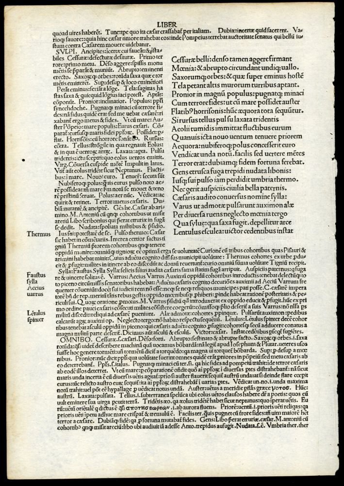Pharsalia [single incunabula leaf from the 1493 edition]. Lucanus Marcus Annaeus.