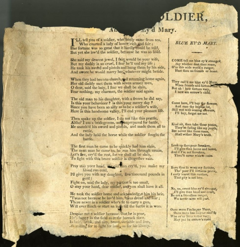 Bold Soldier & Blue Ey'd Mary [Broadside Ballad]. anon.