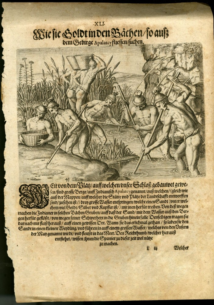 "Engraving from a German Language Edition of Le Moyne's Brevis narratio [ca. 1591 from De Bry's ""Grand Voyages to the Americas""]: XLI. Mode of Collecting Gold in Streams Running From the Apalatcy Mountains. Theodor de Bry, Jacques Le Moyne de Morgues."