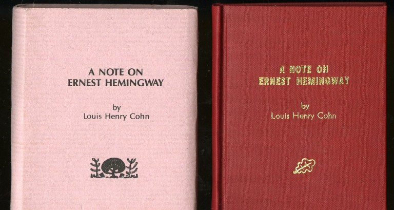 A Note on Ernest Hemingway. Cohn Louis Henry.