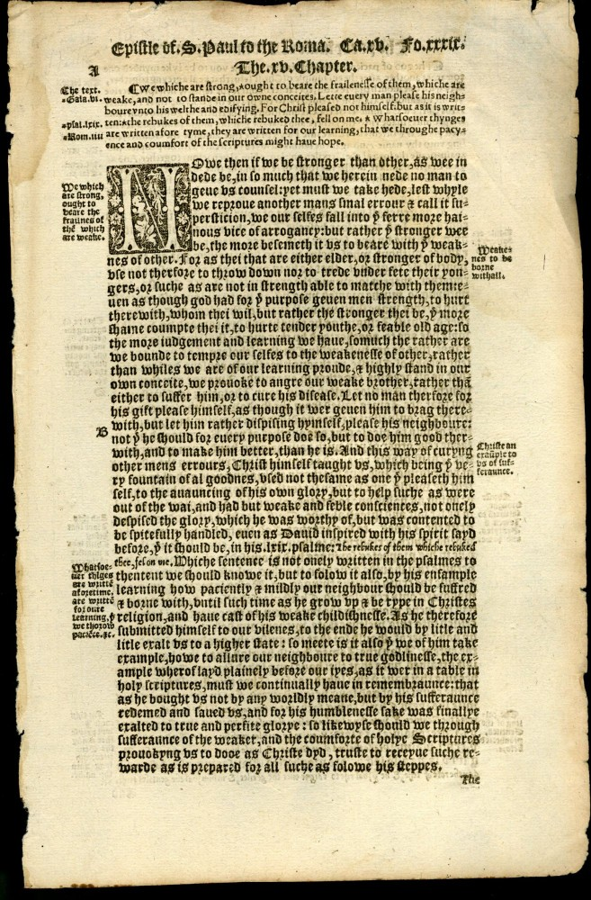 The seconde tome or volume of the paraphrase of Erasmus vpon the newe testament [single leaf from the 1549 edition]. Erasmus.