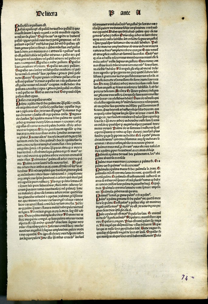 Catholicon [single incunable leaf]. Johannes Balbus.