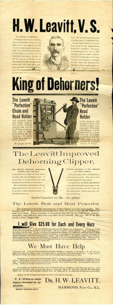 "The Leavitt Improved Dehorning Clippers ""King of Dehorners!"" Broadside. Leavitt H. W."