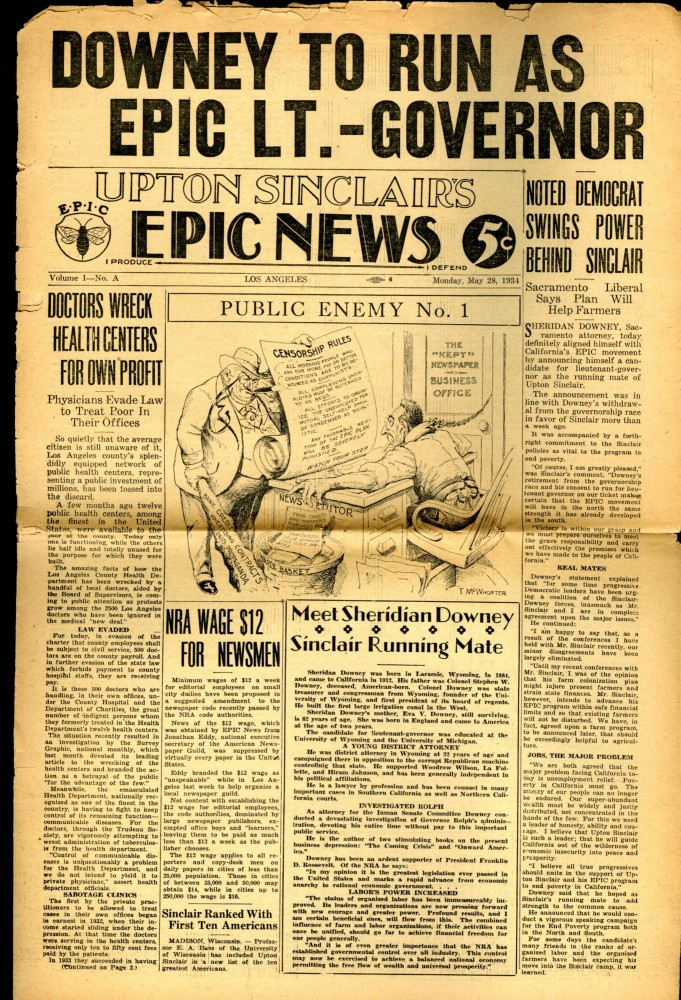 Upton Sinclair's End Poverty Paper, EPIC (End Poverty in California) News. Upton Sinclair.