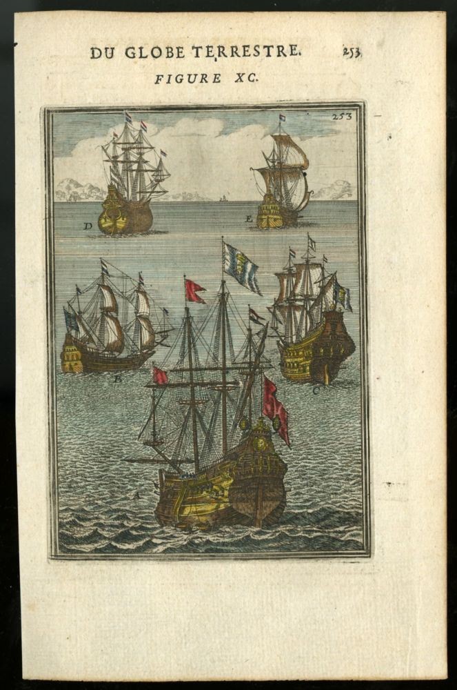Hand-Colored Engraving of Five Tall Ships [from Description de l'univers c.1683]. Mallet Allain Manesson.
