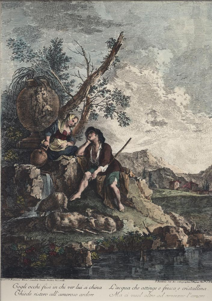 19th Century Color Lithograph of an 18th Century Engraving. Francesco Zuccarelli.