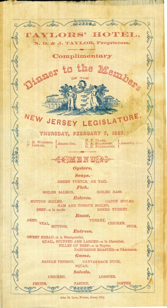 Complimentary Dinner to the Members of the New Jersey Legislature, Thursday, February 7, 1867 [silk menu].