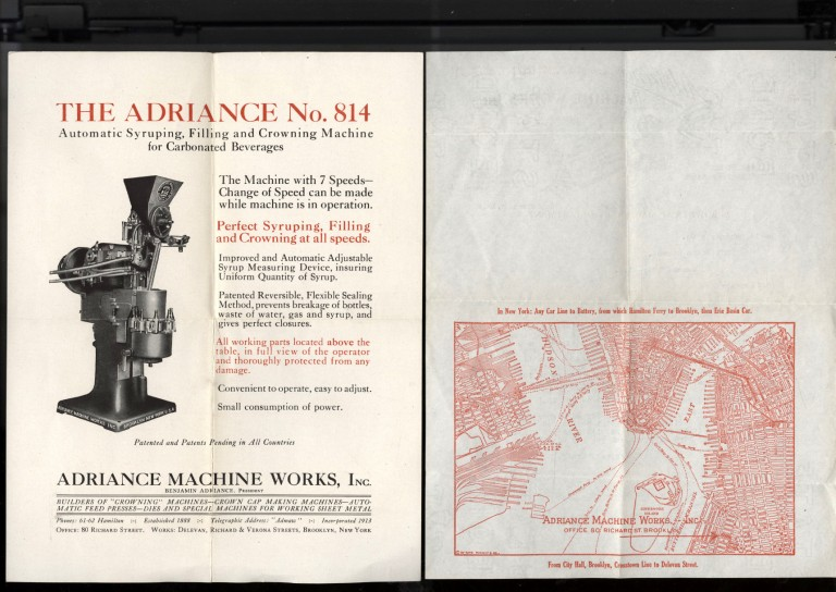 Adriance Machine Works Ephemera: Automatic Syruping, Filling and Crowning Machine for Carbonated Beverages.