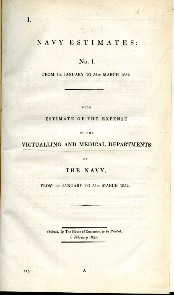 Navy Estimates of the Victualling and Medical Departments of The Navy. anon.