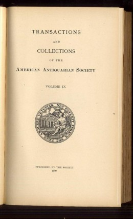 The Diary of Isaiah Thomas 1805-1828 in Transactions and Collections of the American Antiquarian Society Volume IX and X