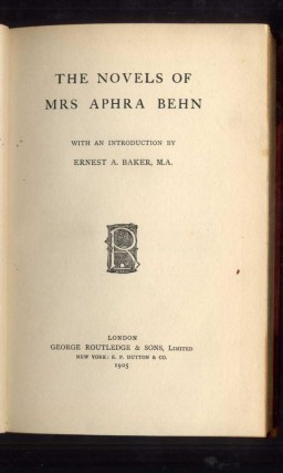 The Novels of Mrs. Aphra Behn