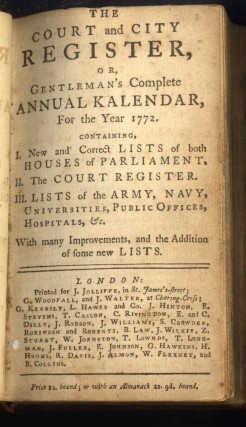 The Court and City Register, or, Gentleman's Complete Annual Kalendar, For the Year 1772