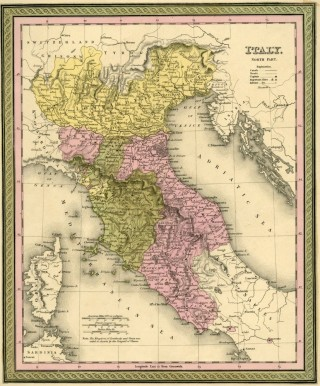 Map of Italy, Cowperthwait ca. 1850. Mitchell