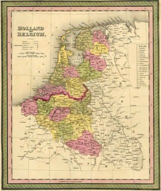 Map of Holland and Belgium, Cowperthwait ca. 1850. Mitchell