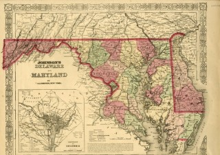 Map of Maryland [from johnson's new illustrated family atlas]. Johnson