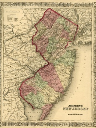 Map of New Jersey [from johnson's new illustrated family atlas]. Johnson