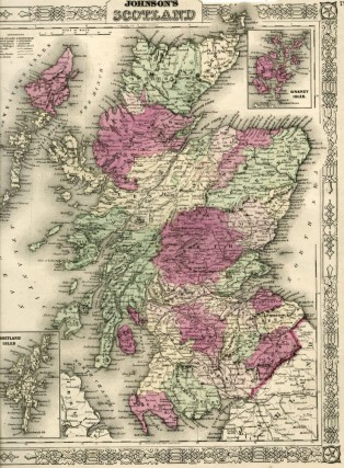 Map of Scotland [from johnson's new illustrated family atlas]. Johnson