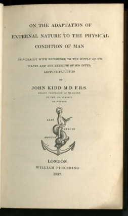 On the Adaptation of External Nature to the Physical Condition of Man [Bridgewater Treatises]