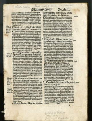 Expositio in psalterium [fragment; 8 leaves]. Ludolphus de Saxonia.