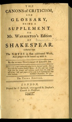 The Canons of Criticism and Glossary, Being a Supplement to Mr. Warburton's Edition of Shakspear