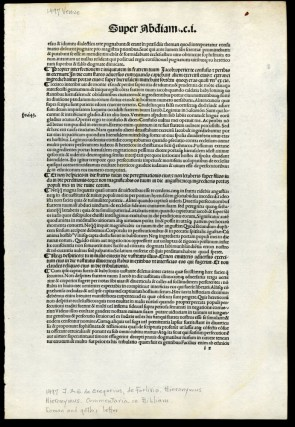 Commentaria in Bibliam [single incunabula leaf from the 1497 edition]