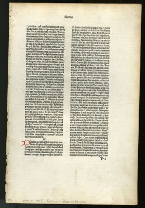 Lectura super V libris Decretalium [single incunable leaf printed by Jenson in 1477/78]