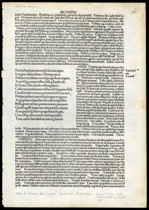 Pharsalia [single incunabula leaf from the 1493 edition]