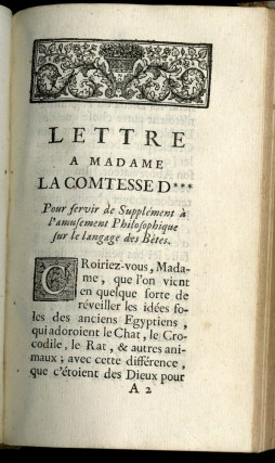 Amusement Philosophique sur le Language Des Bestes. [with] Lettre A Madame La Comtesse D*** Pour sevir de Supplement L'amusement [with] Lettre Du P. Bougeant...A Monsieur L'Abbe Savalette [with] E. Le Noble. L'Allée de la Seringue ou les Noyers. Poeme Herosatyrique. [and] La Fradine ou les Ongles Rognes. Poem Herosatyrique