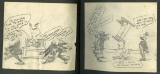 [Scrapbook of Original Humorous Cartoons About Hospitals, Doctors, Broadway Theater]