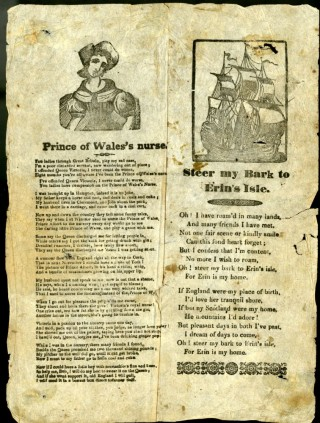 Prince of Wales's Nurse & Steer My Bark to Erin's Isle [Broadside Ballad]. anon.
