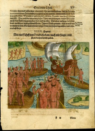 "Hand Colored Engraving from a German Language Edition from De Bry's ""Grand Voyages to the Americas [ca. 1591]: Plate XXXII, How a ship came from Brickioka. Theodor de Bry, Jacques Le Moyne de Morgues."