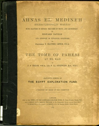 Ahnas El Medineh; The Tomb of Paherie at El Kab (The Egypt Exploration Fund, 11th Memoir)....