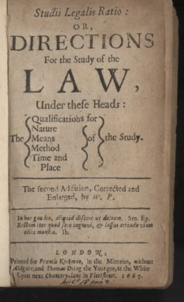 Studii legalis ratio, or, Directions for the Study of the law Under These Heads