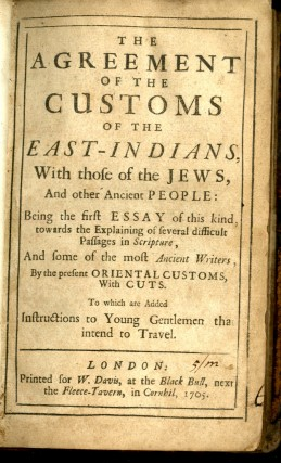 The Agreement of the Customs of the East-Indians, with those of the Jews, and other Ancient People
