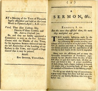 An Anniversary Sermon Preached at Plymouth, Dec. 23, 1776, in grateful Memory of the First Landing of our worthy Ancestors, in that place A.D. 1620.